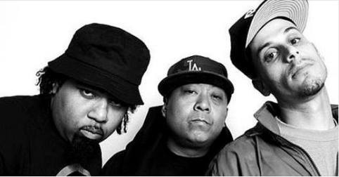 Hip Hop trio Dilated Peoples. Falcone has been compared to Evidence (extreme left)